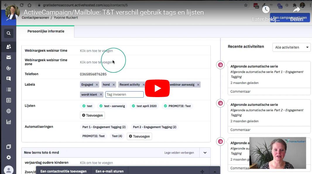 T&T Verschil in gebruik van tags en lijsten